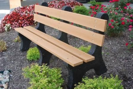 Classic Park Bench With Back Recycled Plastic