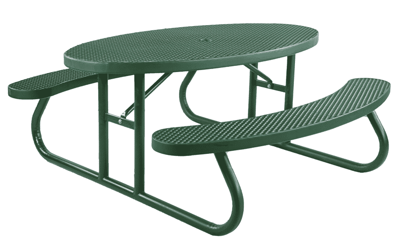 Oval Picnic Table Plastisol Coated Expanded Metal
