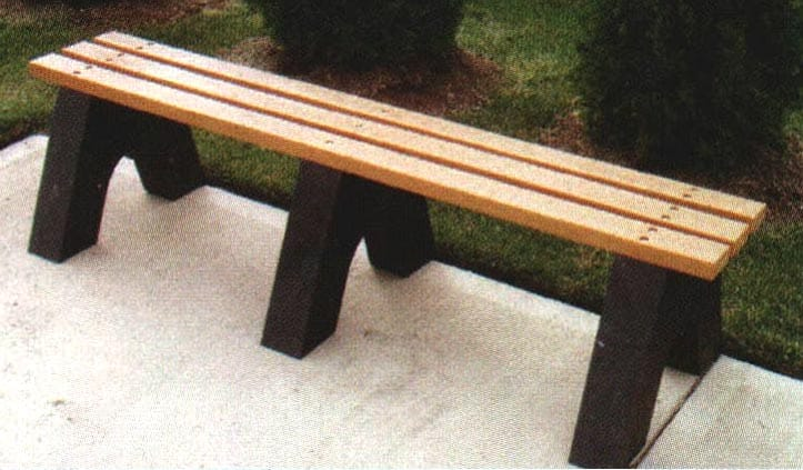 Backless Park Bench Recycled Plastic Planks Amp Bases