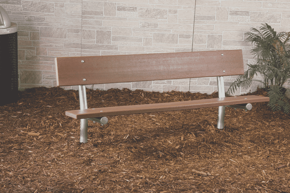 6 8 Stationary Park Bench With Back Recycled Plastic Slats