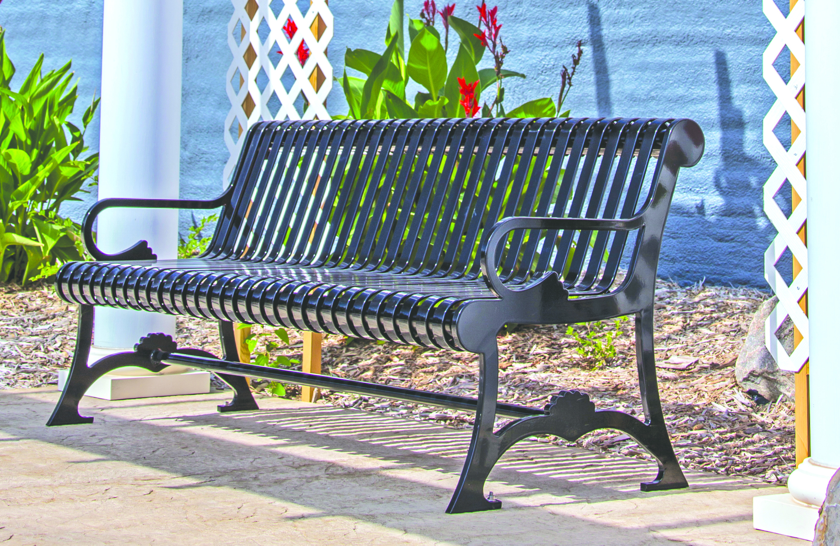 Cool Plaza Strap Metal Bench With Backrest Gmtry Best Dining Table And Chair Ideas Images Gmtryco