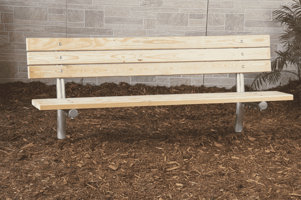 6 8 15 Stationary Treated Wood Bench W Back Southern Yellow Pine