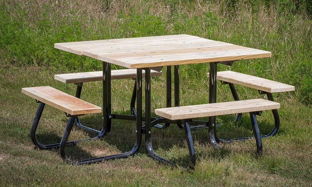 Super Square Portable Picnic Table Treated Wood Top Benches 4Sj Series Spiritservingveterans Wood Chair Design Ideas Spiritservingveteransorg