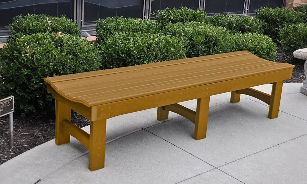 Backless Garden Park Bench Recycled Plastic Planks